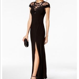 Sequin Illusion Slit Gown Adrianna Papell